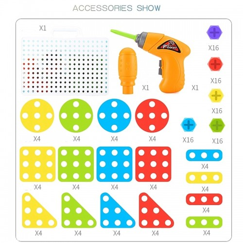 (4kits) Kids Drill Toys Creative Educational Toy Electric Drill Screws Puzzle Assembled Mosaic Design Building Toys